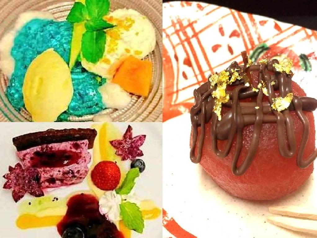 季語をイメージしたデザートは彩りも鮮やか。写真右は昨秋の姫りんごのワイン煮。