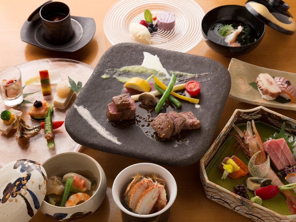 ある日の和食懐石一例。旬のおいしさを大切に、季節で献立を変更いたします。