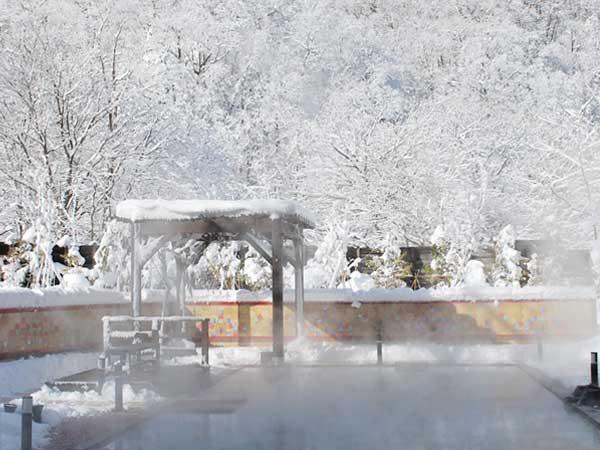 【希みの湯】大露天風呂〜冬の雪見露天