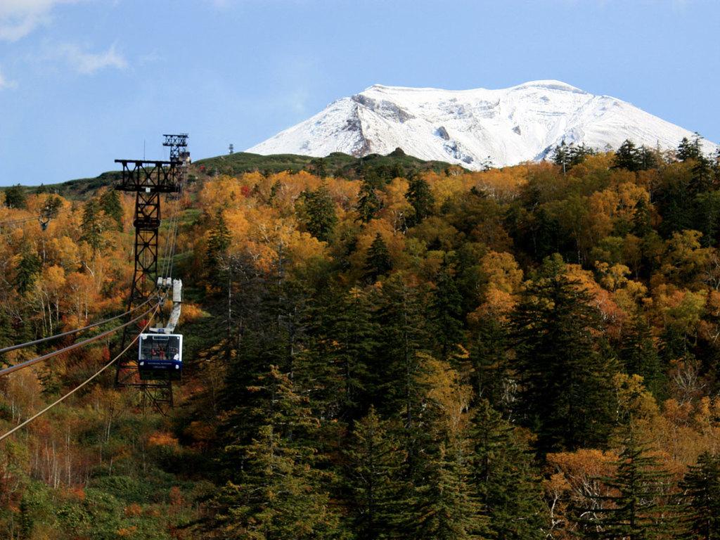 紅葉の中を進む冠雪後の旭岳ロープウェイ
