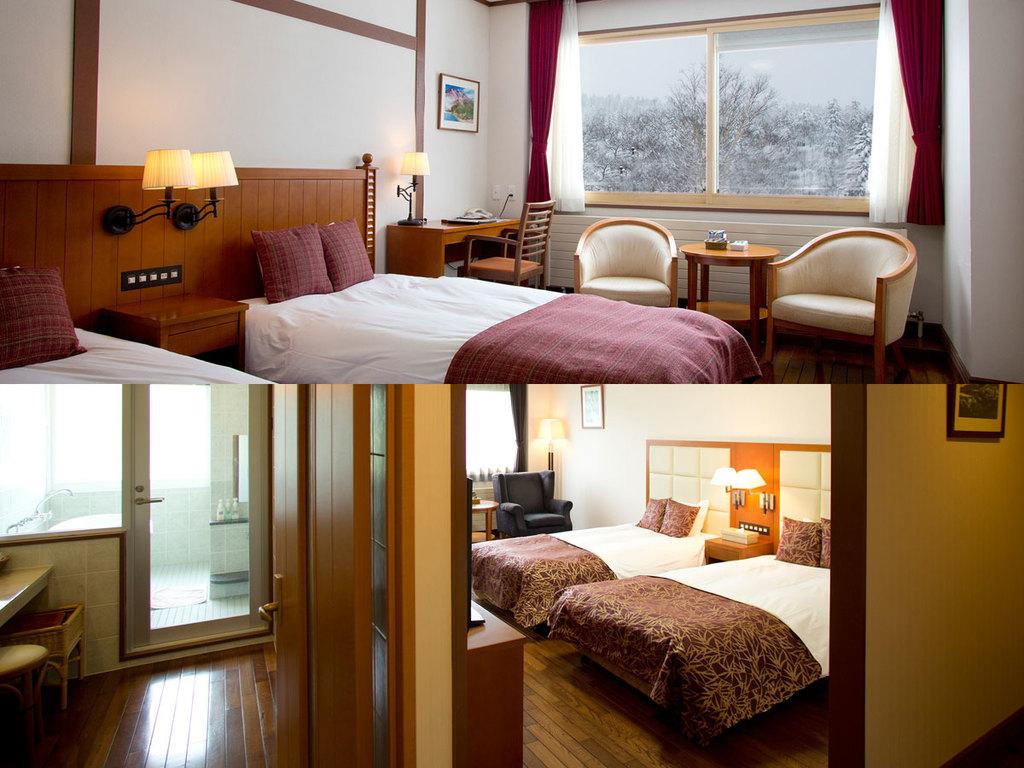 お部屋は森側を確約!雪景色をお楽しみくださませ。