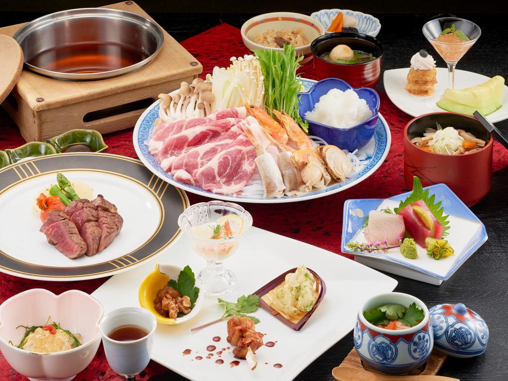 <食事処で和風コース>メインはオープンキッチンでアツアツの焼き立てを♪お肉とお魚どちらを撰ぶ?