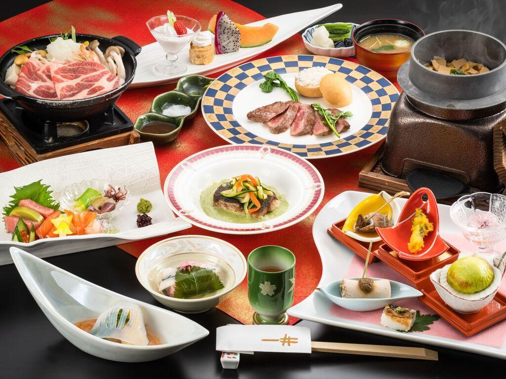 <食事処でランクアップ和風コース>メインはオープンキッチンでアツアツの焼き立てを♪お肉とお魚どちらを撰ぶ?
