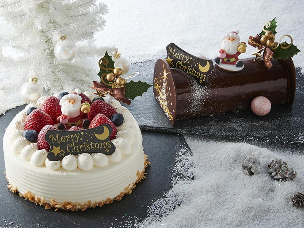 クリスマスケーキもしくはブッシュ・ド・ノエルどちらかお好きな方をお選びください。