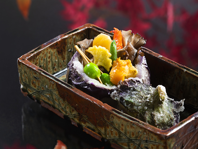 丸茄子田楽吹き寄せ焼き〜賑やかに盛り付けた一品ひと品が美味しさを放つ焼き物です〜