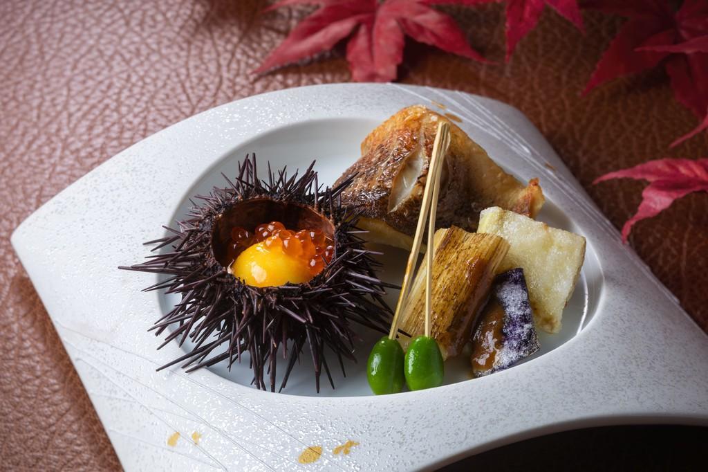 野菜丸柚子雲丹殻焼き