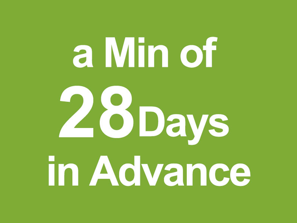 A special discount rate for booking 28 days in advance.