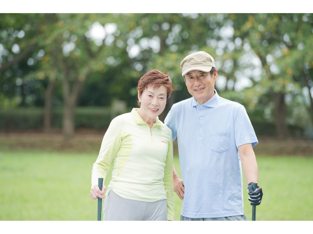 夫婦でゴルフ