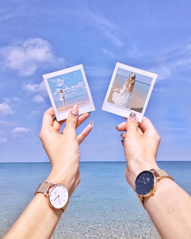 エメラルドグリーンに輝く沖縄の海をスマホdeチェキ体験♪