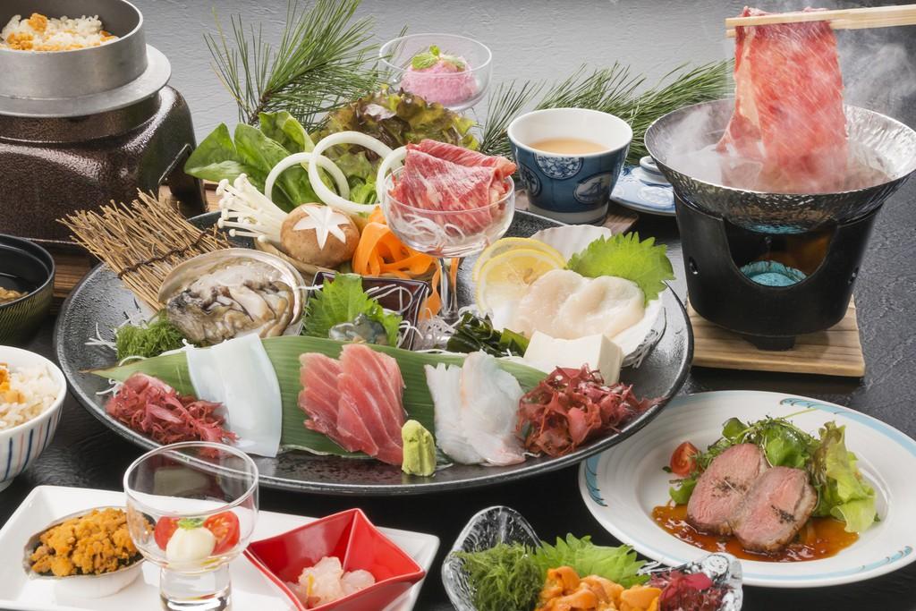 三陸の海の幸などをもちいた和食膳 一例