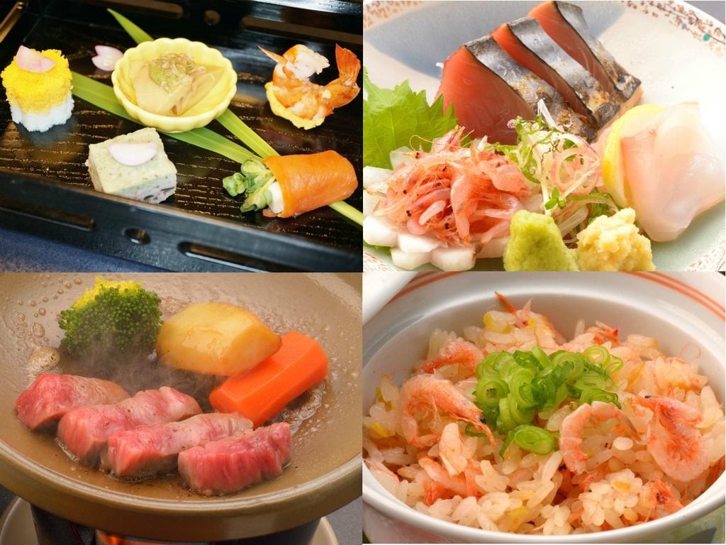 ご夕食のイメージ(前菜、お造り、飛騨牛ミニステーキ、桜えび御飯)