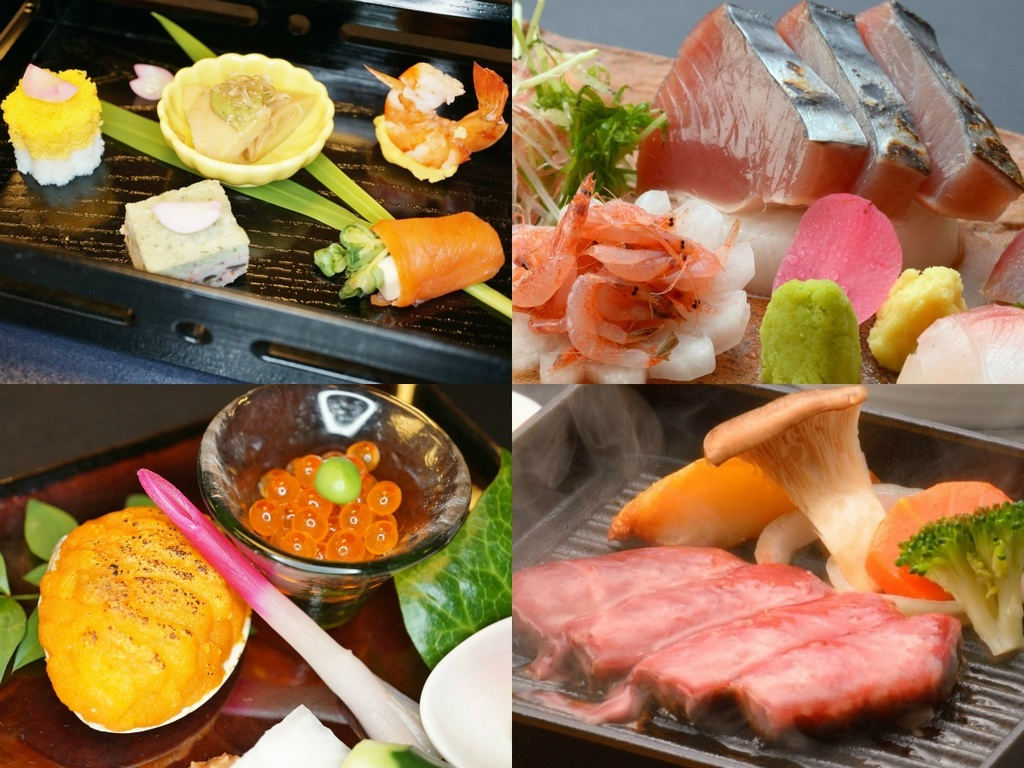 ご夕食イメージ(前菜、お造り、貝焼き雲丹とイクラ、飛騨牛ステーキ)