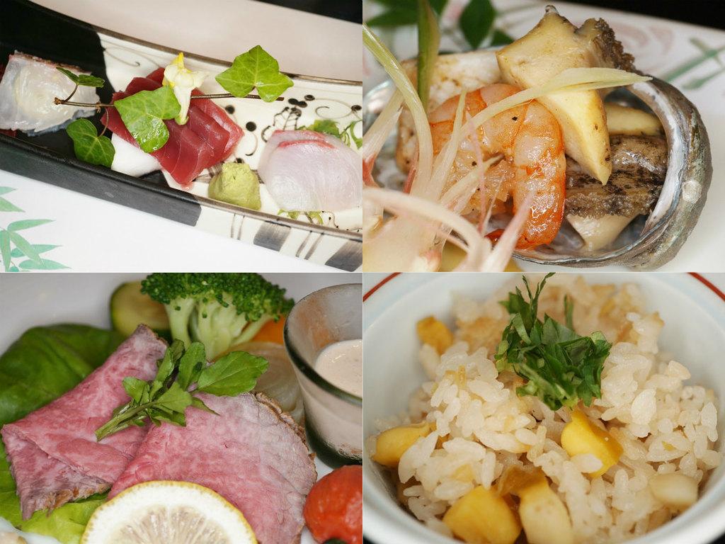 ご夕食イメージ(地魚などお造り盛合せ、鮑と海の幸のバター焼き、飛騨牛ローストビーフ、鮑御飯)