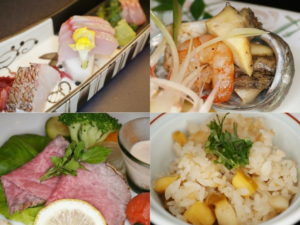 ご夕食イメージ(地魚などお造り、飛騨牛ローストビーフなど)