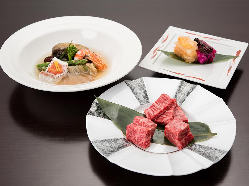 *【神戸牛&淡路牛・あわび・フカヒレ付スペシャルコース】お祝い等に人気!贅沢品の3つ巴コースです。
