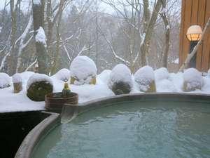 冬の楽しみ☆にごり湯の雪見露天風呂と旨い地酒!