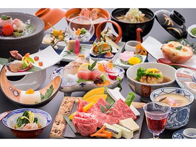 【佐賀牛A5等級100g】の陶板ステーキ会席 一例