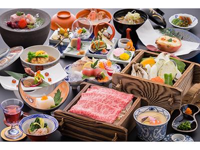【佐賀牛A5等級100g】と旬野菜の源泉セイロ蒸し会席 一例