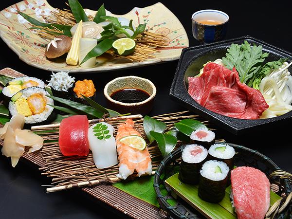 飛騨牛や鮪の握り寿司・酒盗焼・飛騨牛すき焼き等の豪華会席料理!