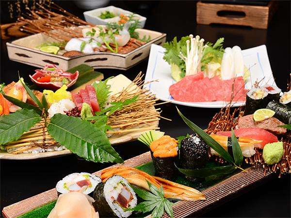 飛騨牛や鮪の握り寿司・海鮮焼・飛騨牛味しゃぶ等の豪華会席料理!