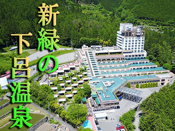高台に位置するアルメリアから新緑を望む展望露天風呂