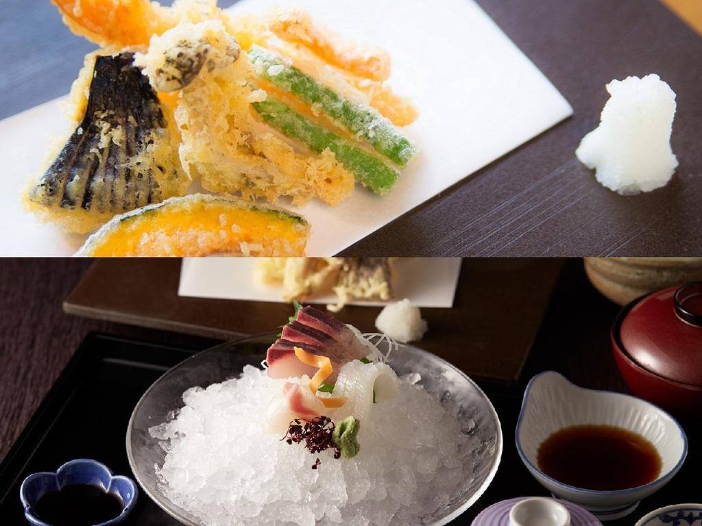 旬のお野菜や海老などの天ぷらをお楽しみください。
