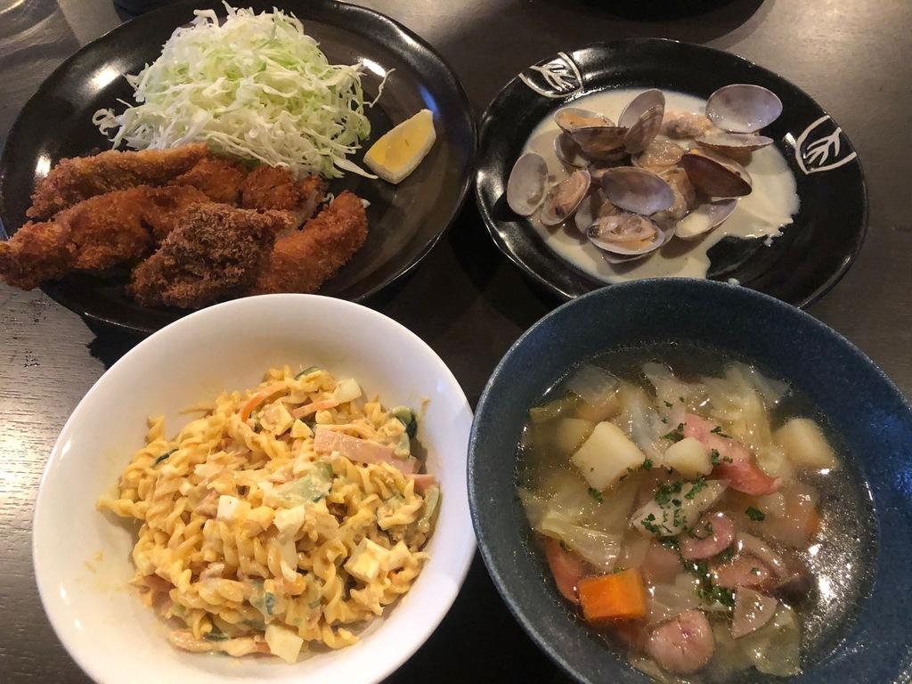 アサリバター、ミネストローネ、白身魚フライ、マカロニサラダ