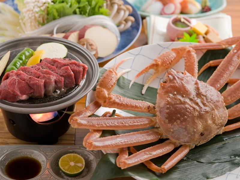 松葉ガニ鍋と但馬牛ステーキ会席(イメージ)