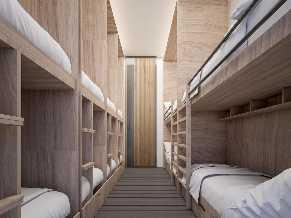 2段ベッドのドミトリータイプイメージ。女性専用は専用シャワー&パウダールーム完備で快適!