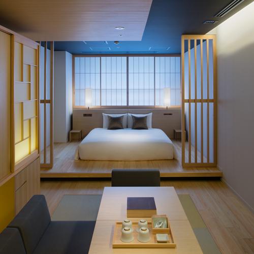 キングサイズベッドの和を感じる和洋室