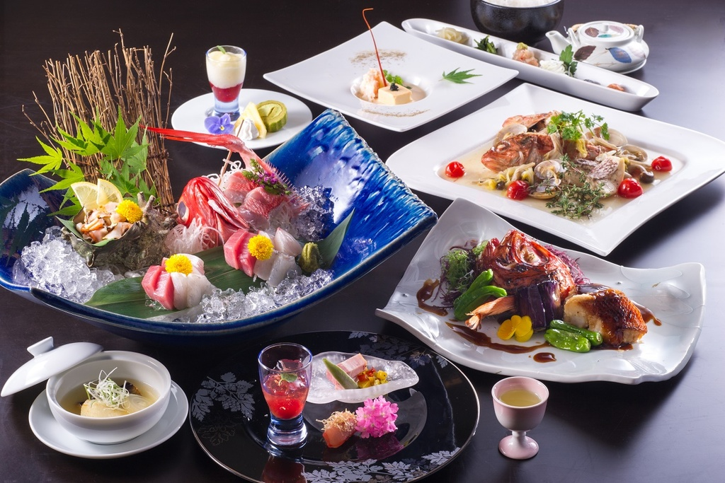 大島コースのお食事の一例