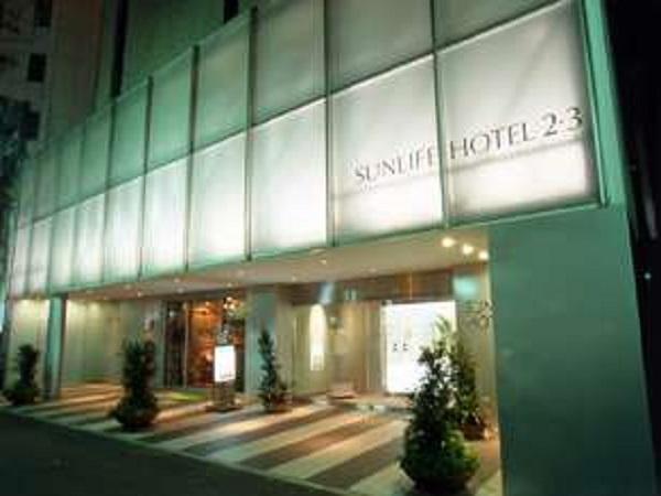 サンライフホテル2・3号館正面玄関(夜)