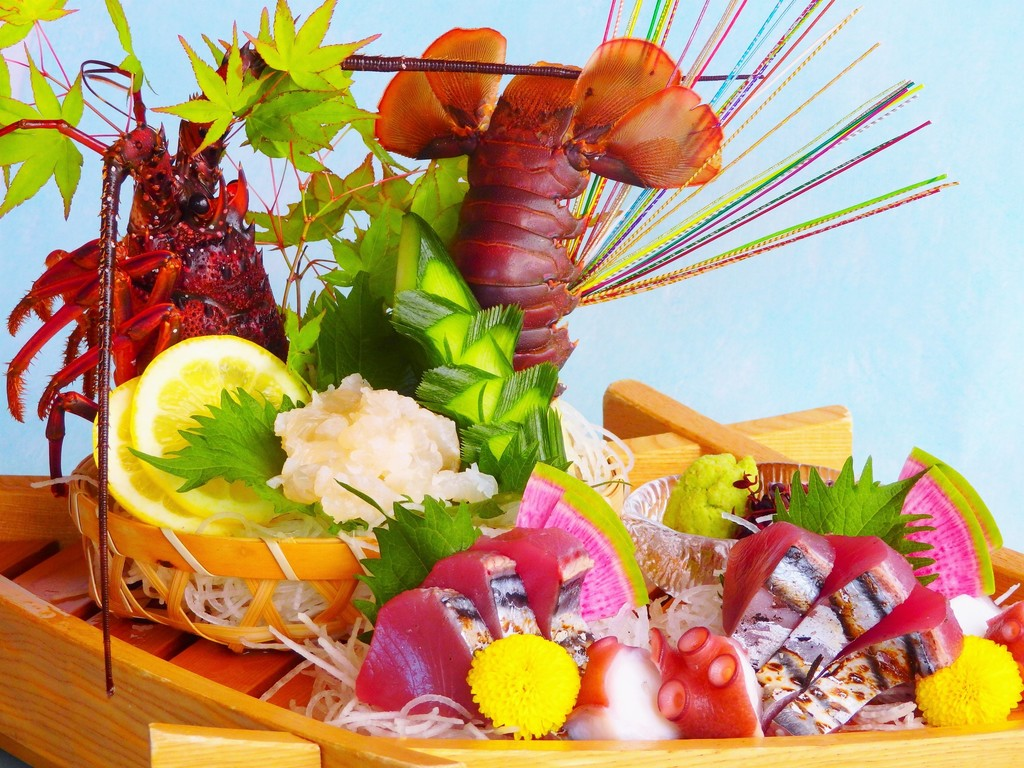 【夏の味覚会席】お造り 伊勢海老 かつお タコぶつ(お料理一例)