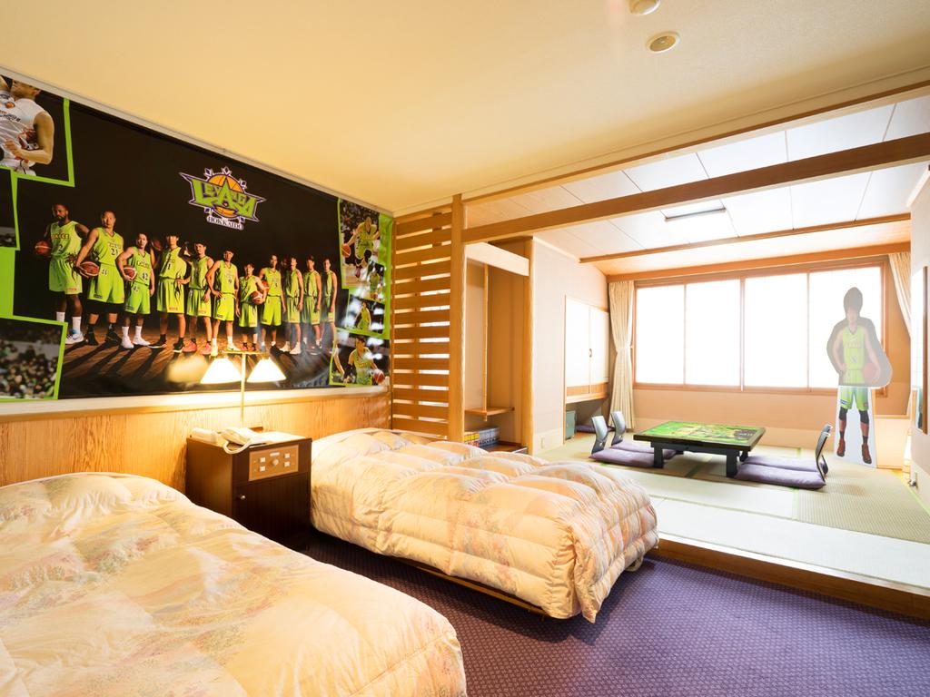 【レバンガルーム】広々とした和洋室をレバンガ北海道グッズで装飾した期間限定の特別ルームです。