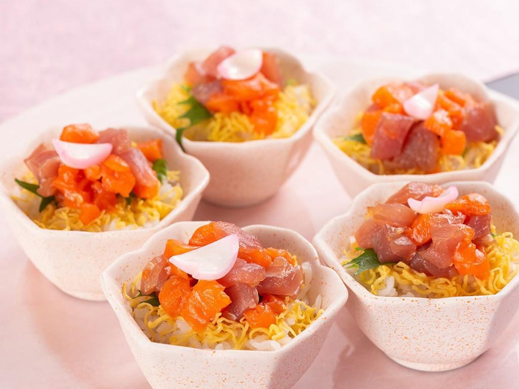 【3〜5月/イランカラプテ】マグロとサーモンのチタタプ(たたき)〜春の彩りちらし寿司