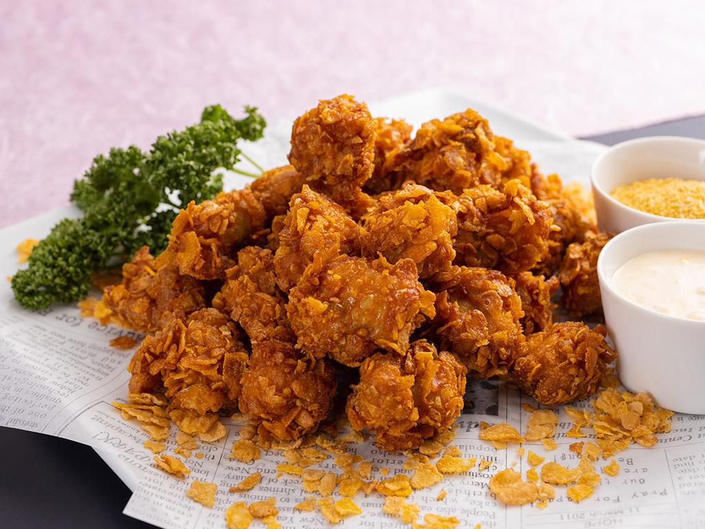 【3〜5月】鶏肉のコーンフレーク揚げざんぎ〜アメリカとうもろこしの黄鬼ソース
