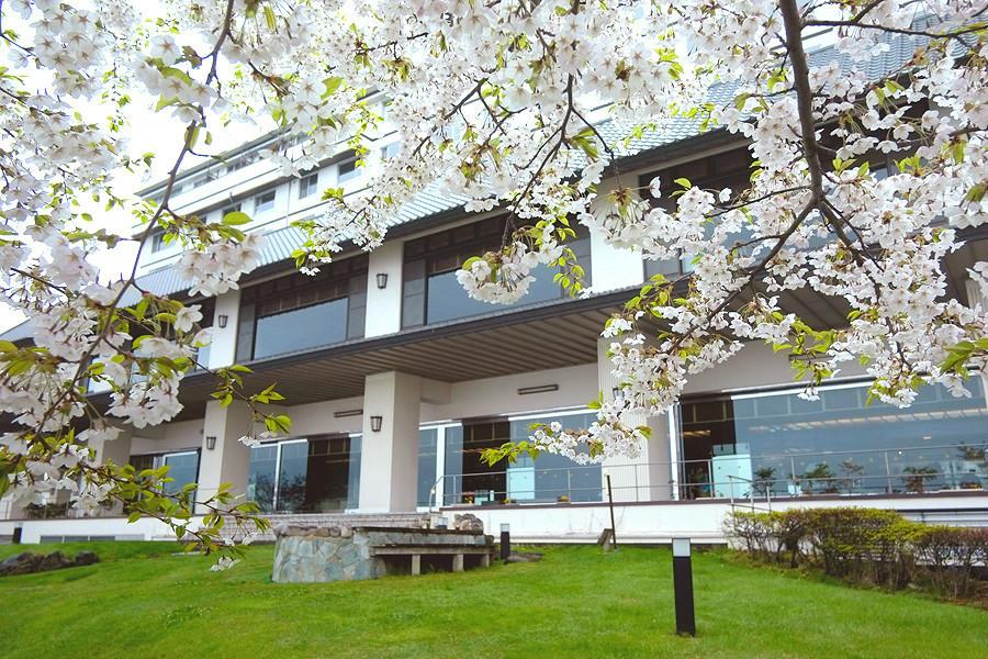 桜の花に彩られた春の湖畔亭。おでかけにもぴったりです。