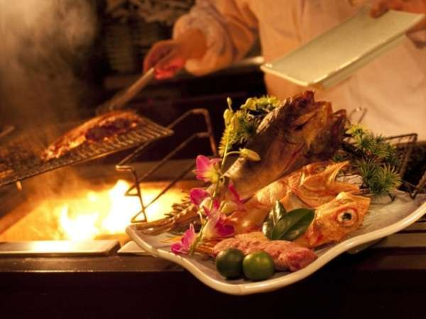 【お食事処 北番屋】メインの焼物はお客様に選んでいただいた食材を調理人がその場で調理いたします