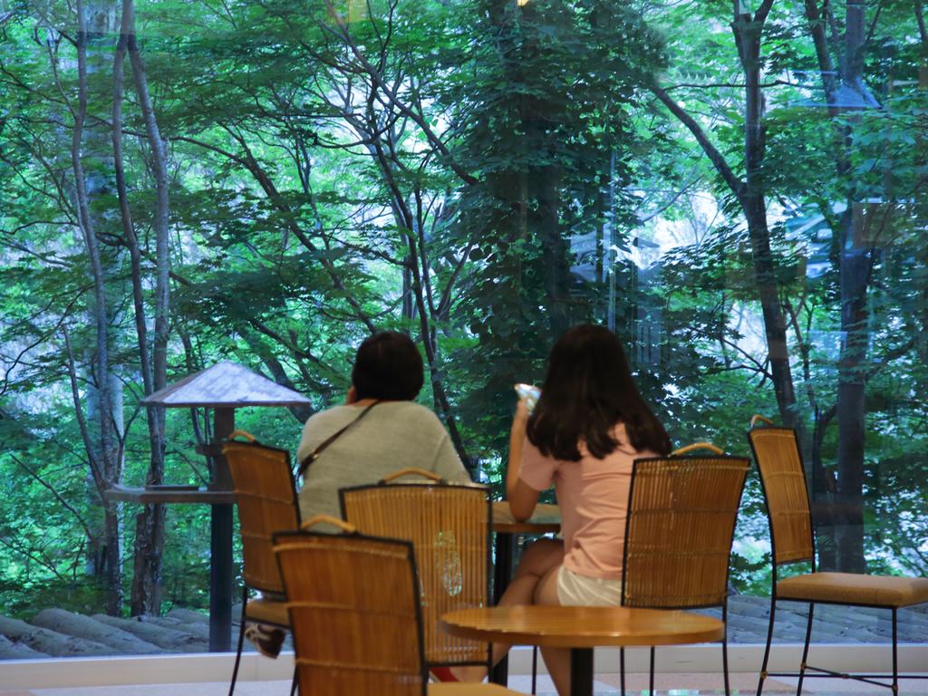 【喫茶「木もれ日】大きな窓の向こうに緑豊かな自然が広がる安らぎの空間