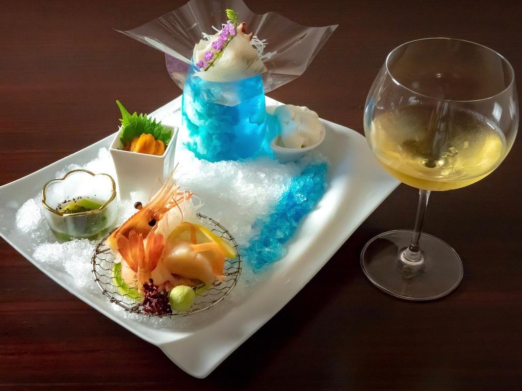 旬菜とスパークリングワイン