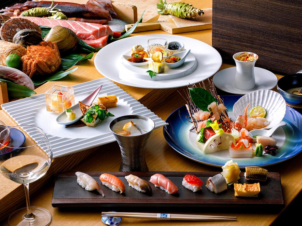 【2018年冬・会席一例】お造りや寿司、洋風メニューもお楽しみ頂ける会席コースです。