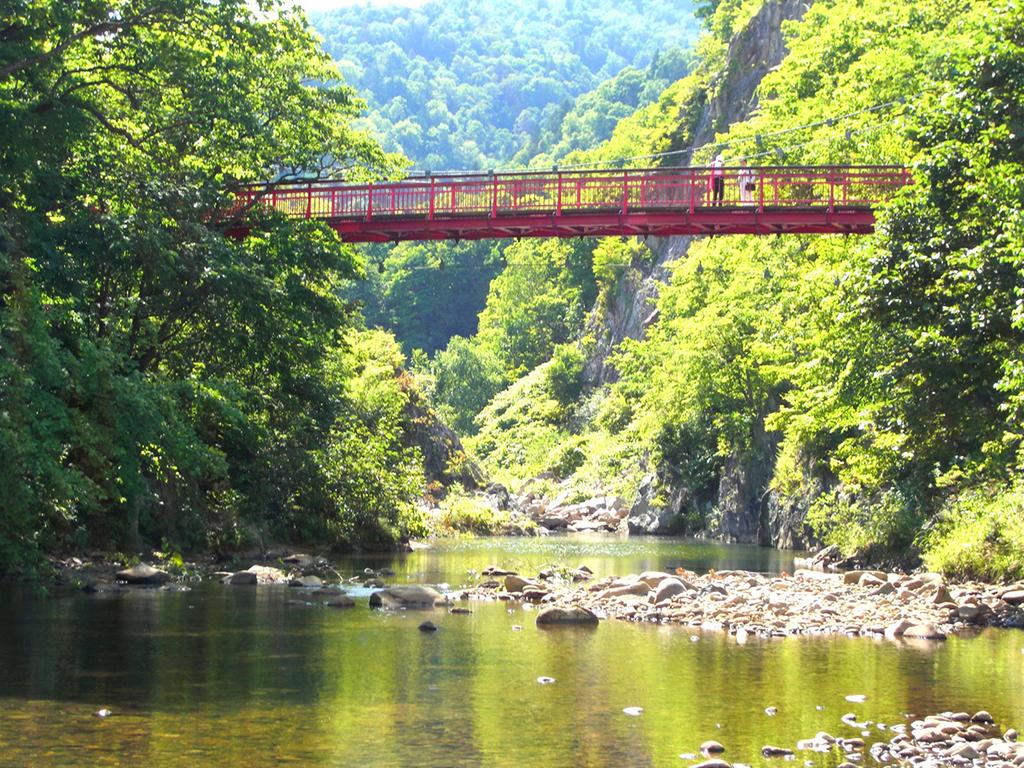 【二見吊橋】真っ赤な吊橋からは「二見岩」やかっぱ伝説が残る「かっぱ淵」が望めます