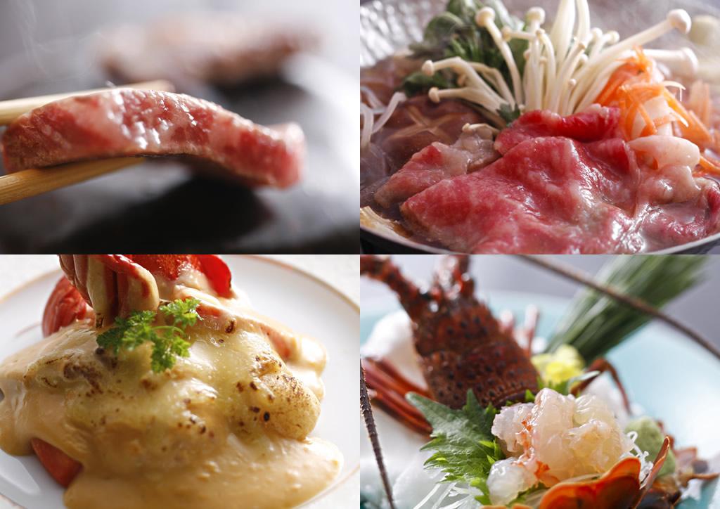 伊勢えびは【造り】【焼き】【グラタン】、松阪牛は【石焼】【すき焼】より各1品お選びいただけます。