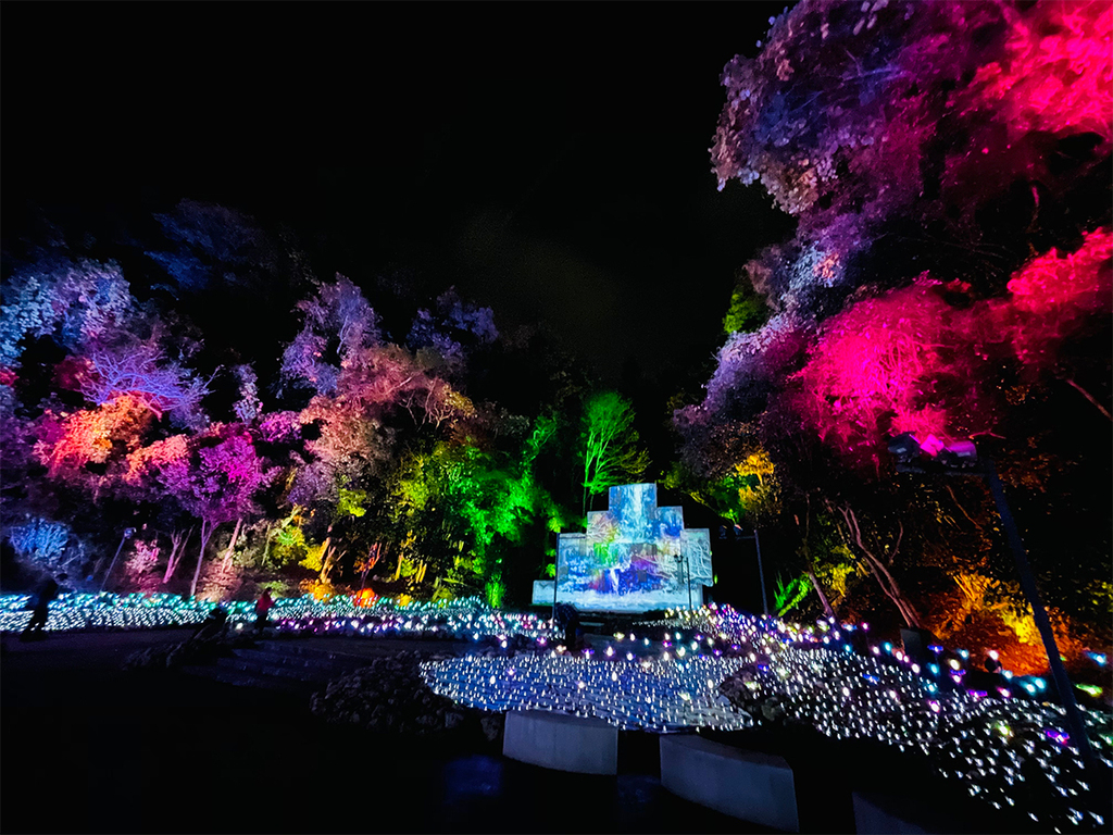 【Nesta Illumina】地形を活かし、 四季が織りなす美しさを輝く光で表現した「大自然の四季」エリア