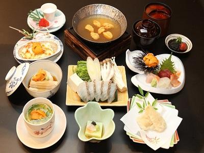 春限定 特選雲丹会席のお料理イメージ