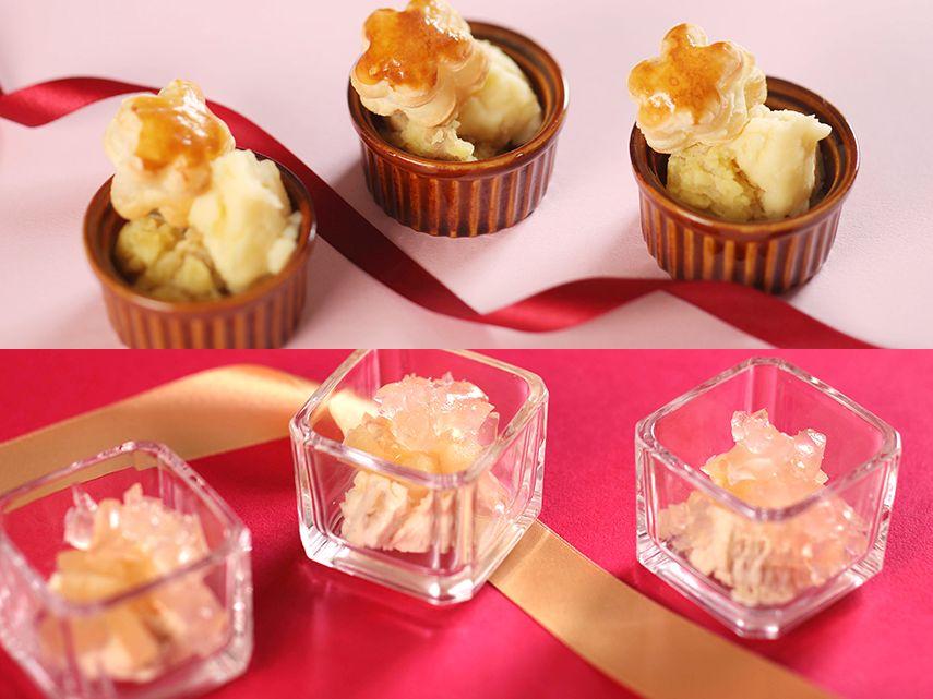 【季節のディナービュッフェ】サツマイモとホタテのブッシュ・ア・ラ・レーヌ風、クルミのフロマージュ