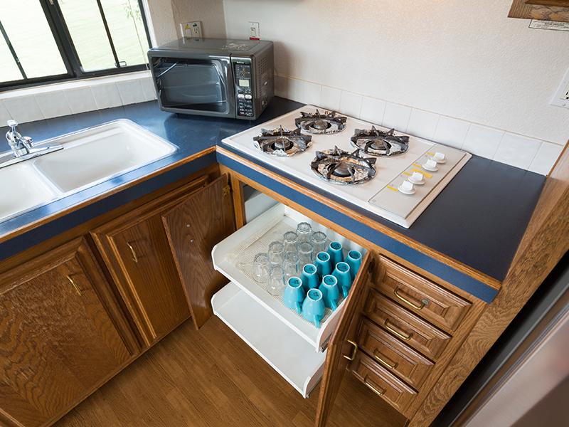 パークコテージのみ簡単な調理可。調理器具はフロントレンタル有