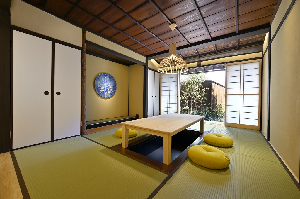 Japanese living room with a spiritual art work