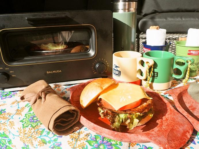 グランピングプランのセルフハンバーガー