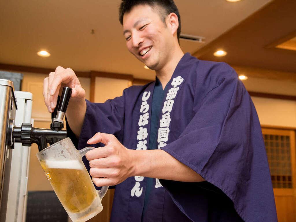 つるや旅館は、ビールマスターが在中しています。美味しい生ビールと信州のお料理をお楽しみください♪